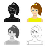 Brunette icon in cartoon style isolated on white background. Woman symbol stock vector illustration. Stock Photos