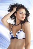Brunette im Bikini, betrachtet sie links stockbild