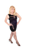 Brunette im schwarzen Abendkleid Stockfotos