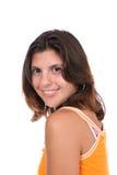 Brunette impertinent en jaune images libres de droits