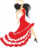 Brunette In A Red Dress Dancing Flamenco Dance Stock Photography