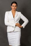 Brunette In A White Business Suit Stock Images