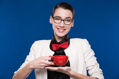 Brunette In Glasses With A Cup In His Hands Stock Image