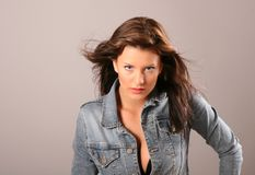 Brunette Jacket Open Hair Stock Photos