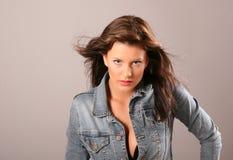 Brunette Jacket Open Hair Stock Photos