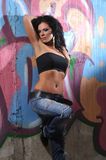 Brunette in jeans Royalty Free Stock Photos
