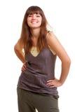 Brunette joven feliz con sonrisa hermosa Fotografía de archivo