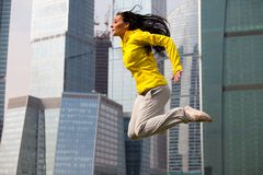 Brunette jumping Royalty Free Stock Images