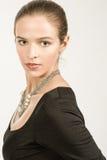 Brunette-junge Frau mit Hazel Eyes Profile Stockfoto
