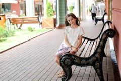 Brunette kid girl at shopping center Royalty Free Stock Photo
