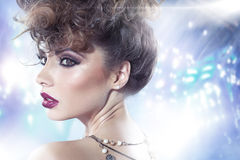 Brunette lady with fancy curly haircut Stock Image