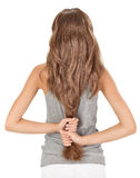 Brunette lady holding long hairs Stock Photography