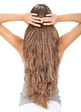 Brunette lady holding long hairs, view from back Stock Photos