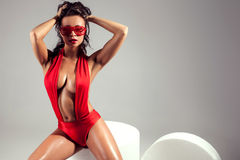 Brunette lady in lingerie. Royalty Free Stock Images