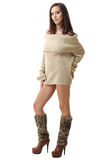 Brunette lady posing in sexy pullover Royalty Free Stock Photography