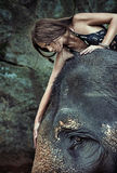 Brunette lady stroking an elephant Stock Photo
