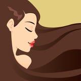 Brunette-langes Haar stock abbildung