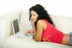 Brunette with laptop Royalty Free Stock Photos