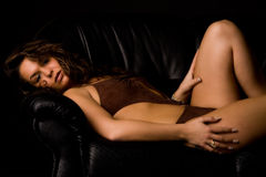 Brunette lay-down in lingerie Royalty Free Stock Photo