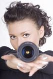Brunette With Lens Royalty Free Stock Photos