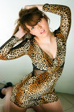 Brunette in a leopard dress Stock Image