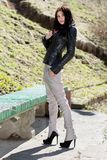 Brunette in light pants Royalty Free Stock Photos