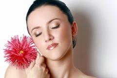 Brunette lindo com áster vermelho Fotos de Stock