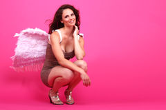 Brunette in Lingerie With a Beautiful Smile Stock Photography