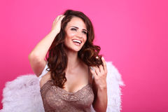 Brunette in Lingerie With a Beautiful Smile Stock Images