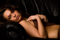 Brunette in lingerie looking into the lens Stock Photo