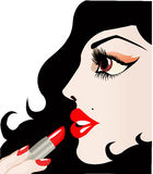 Woman using lipstick (vector) Stock Photography