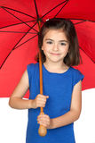 Brunette little girl with a red umbrella Royalty Free Stock Photos