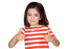 Brunette little girl saying Ok Stock Photos