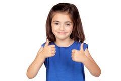 Brunette little girl saying Ok Royalty Free Stock Image