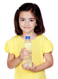 Brunette little girl with a water bottle Stock Photos