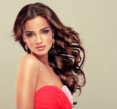 Brunette with long curled hair. Stock Image