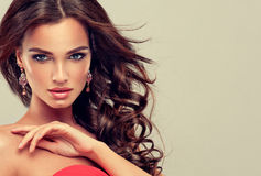 Brunette with long curled hair. Royalty Free Stock Photo