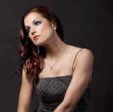Brunette in long dress Stock Image