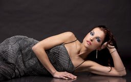 Brunette in long dress Royalty Free Stock Images