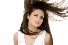 Brunette with long hair Stock Photos