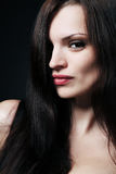 Brunette with long hair. Royalty Free Stock Photo