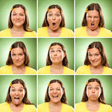 Brunette long hair adult caucasian woman square collection set of face expression like happy, sad, angry, surprise, yawn on green.  stock photography
