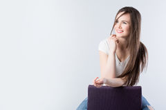Brunette with long hair Royalty Free Stock Photos