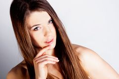 Brunette long hair girl Stock Photos