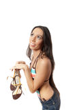 Brunette with long hair in swimsuit isolated Royalty Free Stock Images