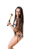 Brunette with long hair in swimsuit isolated Stock Photo
