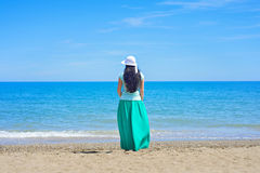 Brunette with long hair turned away Royalty Free Stock Image