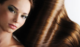 Brunette long healthy female hair royalty free stock image