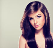 Brunette with long straight hair. Royalty Free Stock Photo