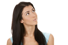 Brunette looking up Royalty Free Stock Images